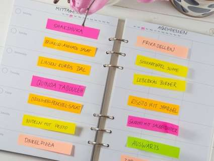 Filofax, Clipbook, Rezepte, Rezeptbuch, Essensplan, Essensplaner, Meal-Plan, Post-its, Mittagessen, Abendessen, Johanna Rundel